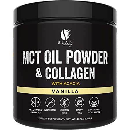 MCT Oil Powder with Collagen and Acacia - Pure MCT's - Perfect for Keto - Energy Boost - Nutrient Absorption - Appetite Control - Healthy Gut Support – Vanilla