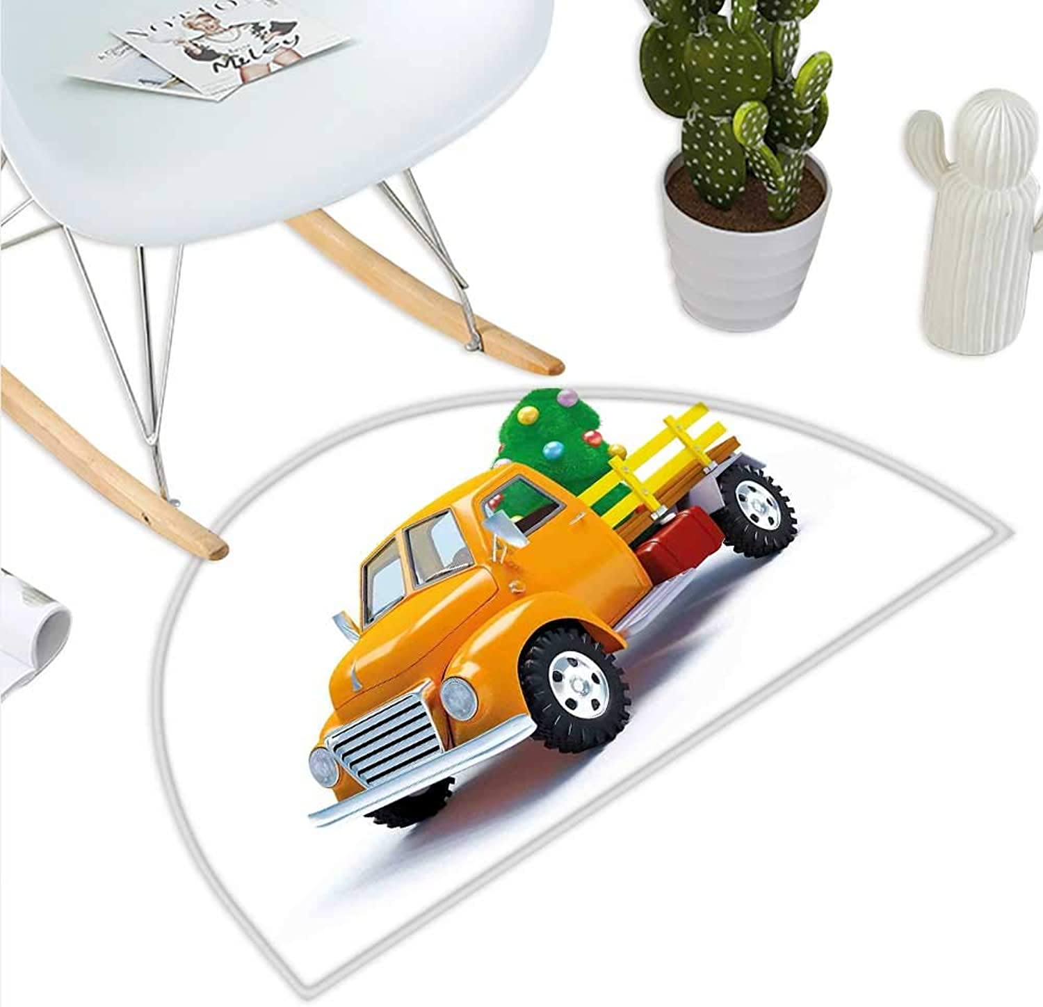 Christmas Semicircle Doormat Yellow Vintage Truck and Tree Design with Star Topper Old Farm Vehicle Halfmoon doormats H 35.4  xD 53.1  White Yellow Green