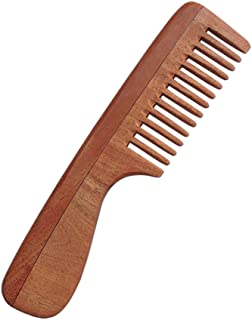 HealthGoodsIn - Pure Neem Wood Wide Tooth Comb with Handle for Thick Hair | Wide Tooth Comb| Comb with Handle | Organic and Natural