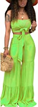 Aro Lora Women's 2 Piece Jumpsuit Ruched Sleeveless Crop Top Ruffle Wide Leg Pant Set Romper Outfit