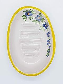 Portasapone Linea Fiori Blu Bordo Giallo Ceramica Realizzato e dipinto a mano Le Ceramiche del Castello Made in Italy Dime...