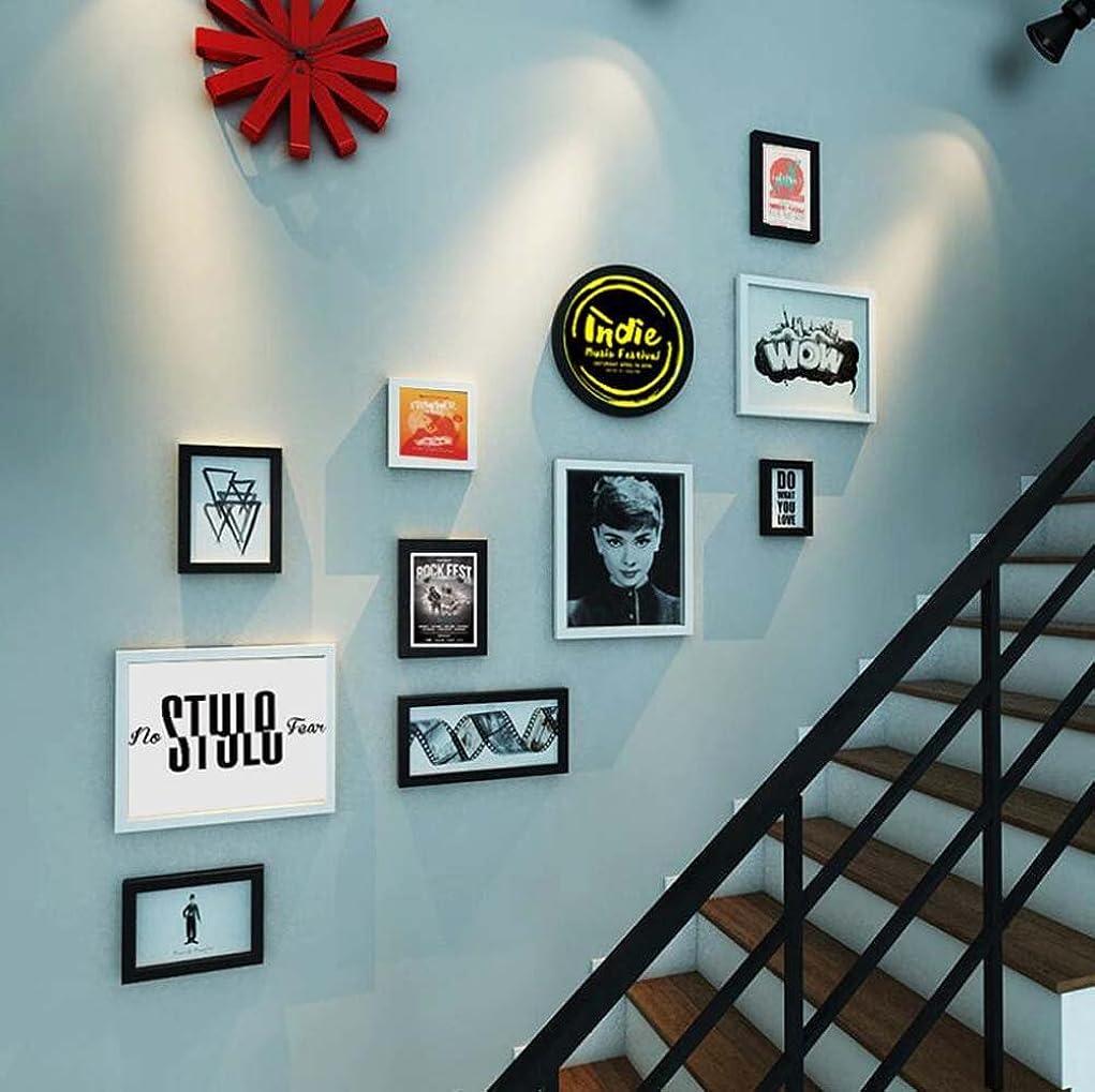 市民屈辱する篭11写真フレーム階段壁装飾壁画の組み合わせ、テレビの背景壁掛けの絵画の組み合わせ装飾的な絵画、創造的な壁掛けの固体木枠、オーディオビデオクラシック (色 : A)