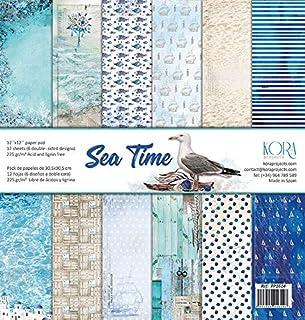 Sea Time - Lot de 12 feuilles de papier de 30,5 x 30,5 cm