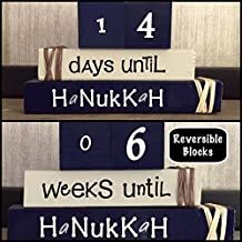 HANUKKAH COUNTDOWN! Reversible and interactive stacking wood block set for seasonal and home decor.