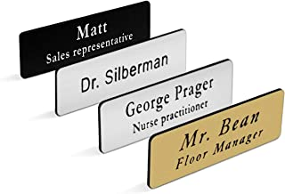 """Custom Personalized Engraved Name Tag/Badge for Business, with Magnet or Pin, Sizes 1""""x3"""" or 1.5""""x3"""" (1""""x3"""")"""