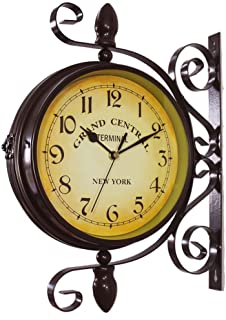 KiaoTime Vintage Double Sided Wall Clock Iron Metal Silent Quiet Station Wall Clock Art Clock Decorative Double Faced Wall...