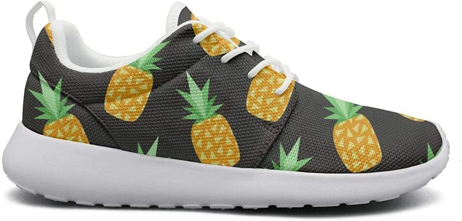FEWW11 Women Fashion Lightweight shoes Sneakers Pineapple Print Decor Breathable Gym Lace-Up