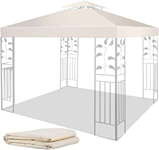 10' X 10' Gazebo Replacement Canopy Double Tier Patio Canopy Top Cover-Beige