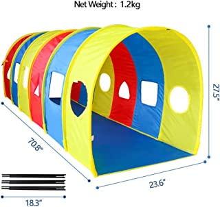 ENHENG Children Play Tunnel-Rainbow Multi-Coloured Toy Tent -Crawling Tube for Kids Sentiment Training - Drilling Toys Baby Indoor & Outdoor (Arch-3 Colors)