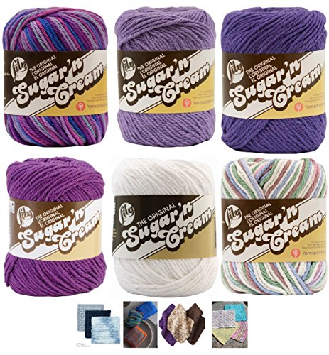 Variety Assortment Lily Sugar'n Cream Yarn 100 Percent Cotton Solids and Ombres (6-Pack) Medium Number 4 Worsted Bundle with 4 Patterns (Purple Set)