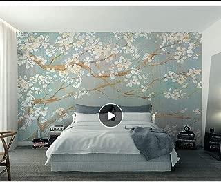 Custom 3D Wallpaper murals Plain Hand Painted Oil Painting Cherry Blossom TV Background Wall Wallpaper for Walls 3D MRQXDP Papel de Parede