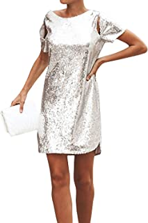 Women Sexy Sequin Backless Short Sleeve T-Shirt Dress