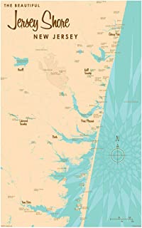 Jersey Shore New Jersey Vintage-Style Map Art Print Poster by Lakebound (12