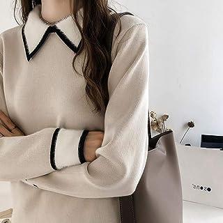 BINGSL JerséIs SuéTer,Temperamento Elegante suéter de Las Mujeres Turn Down Collar Patchwork Pullover Mujer Moda Damas Top...