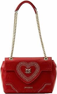 Love Moschino Women's Red Heart & Chain Flap Over Satchel Handbag