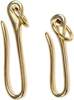 Prettyia 2Pcs Antique Fish U Hook Loop Keychain Clip Solid Brass Leather Handbag Accessories