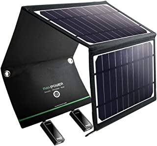 RAVPower Solar Charger 16W Solar Panel with Dual USB Port Waterproof Foldable Camping Travel Charger Compatible iPhone Xs XS Max XR X 8 7 Plus, iPad, Galaxy S9 S8 Edge Plus, Note, LG, Nexus and More