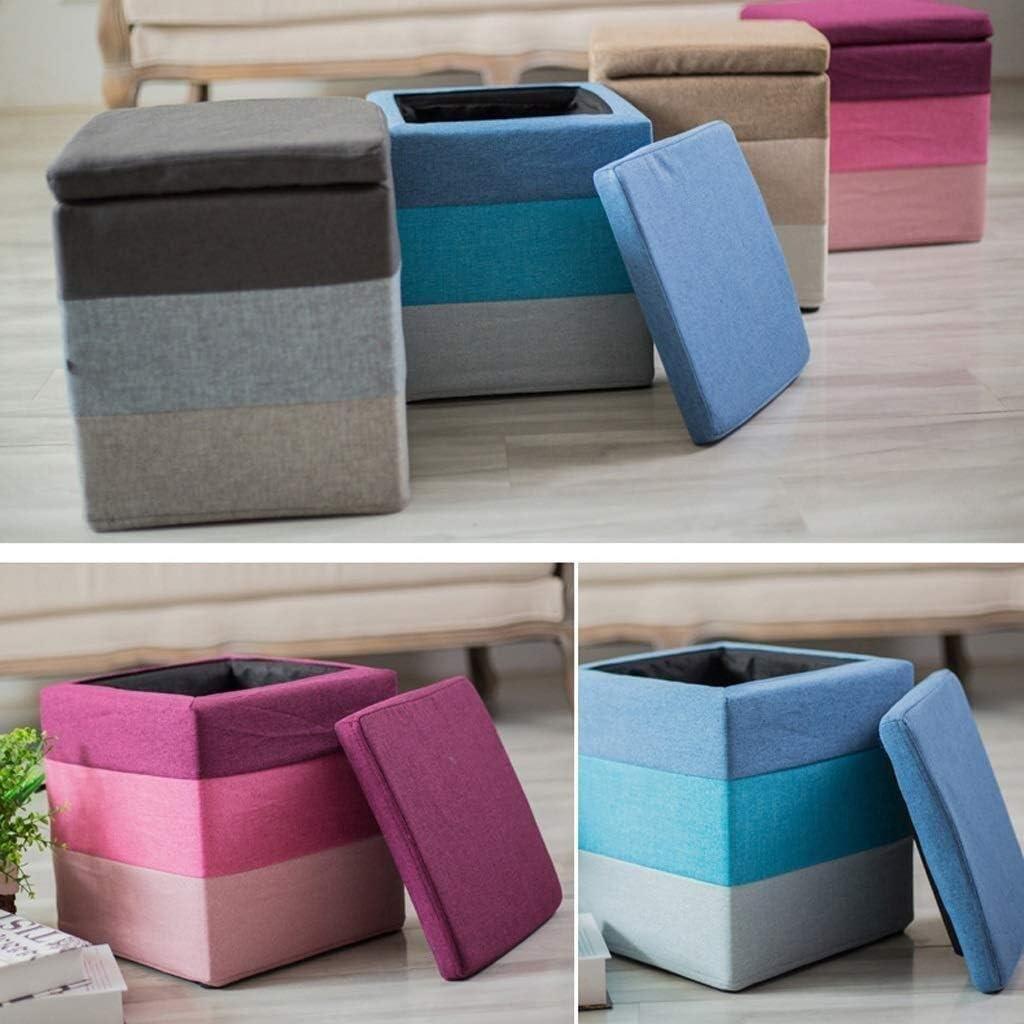 AINIYF Tabouret de Rangement en Lin Tissu Place Arc-en-Couleur Ottoman Pouf Chaise Pliante siège Confortable (Color : Gray) Gray