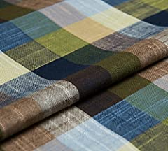 100%linen Width: 143cm Weight: 175g/m countryside style checked pattern Yarn-dyed
