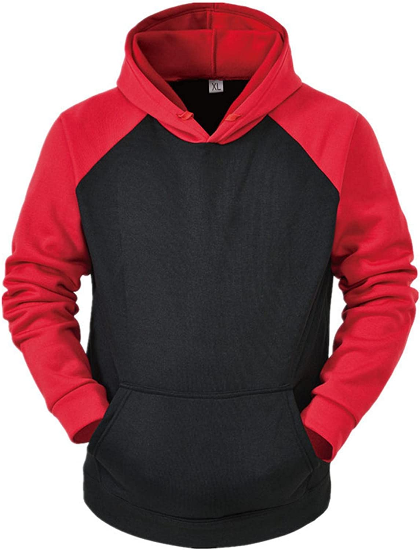 Mens Pullover Hoodies Long Sleeve Color Block Novelty Fleece Hooded Sweatshirts Athletic Sport Outdoor Recreation