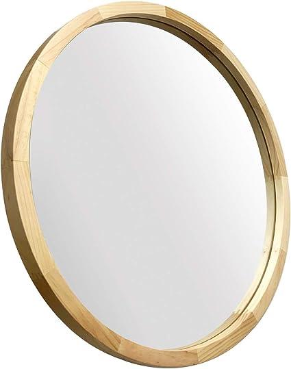 Jiyuerltd Specchi Rotondo 60cm Specchi Da Parete Decorativi Specchi Morden Con Cornice In Legno Per Salotti Di Ingresso Del Bagno E Altro Ancora Legno Naturale Amazon It Casa E Cucina