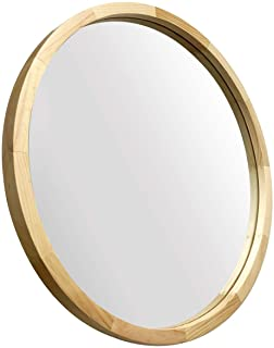 JIYUERLTD Miroir Rond 60cm Miroirs Muraux Décoratifs Miroirs Morden à Cadre en Bois pour entrées de Salle de Bains, Salons...