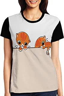 Women's T Shirts,Banner with Little Kitties Felines Over Jumping The Walls Free Artful Design
