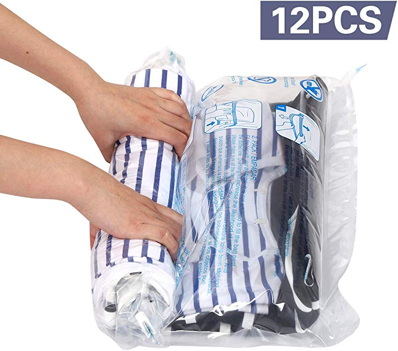 Hibag 12 Travel Compression Bags 12 Pack Roll Up Space Saver Storage Bags For Travel Suitcase Size 12 Travel