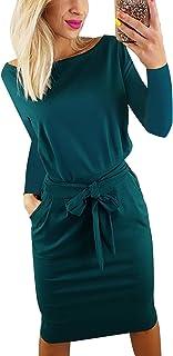 137fafa6686ea6 Yieune Sommerkleid Damen Lose Abendkleid Einfarbig Knie Lang Kleider  Elegant Strandkleid Minikleid