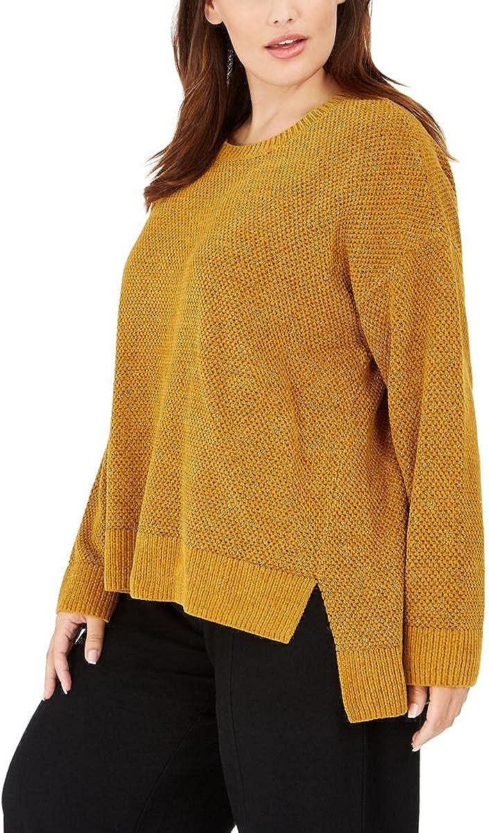 Eileen Fisher Womens Plus Organic Cotton Ribbed Trim Crewneck Sweater