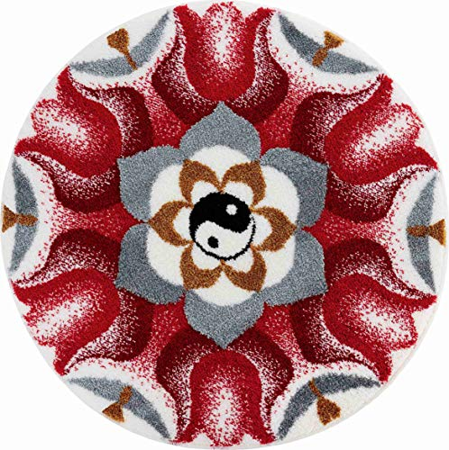 Grund Harmony of Opposites Alfombra de Baño, Poliacrílico Supersoft, Rojo, 100 cm