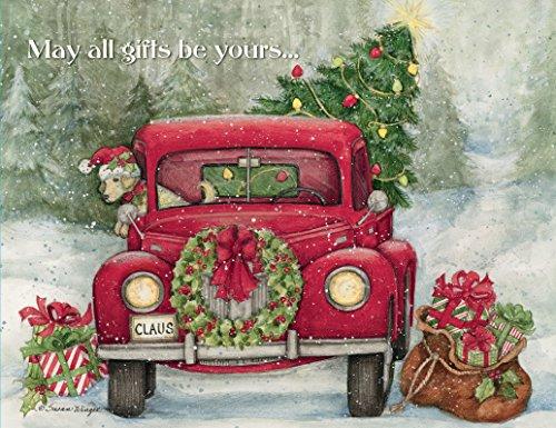 LANG - Boxed Christmas Cards -'Santa's Truck' Artwork by Susan Winget - 18 Cards, 19 Envelopes - 5' x 7'