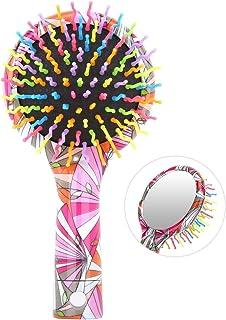 ヘアブラシ-Luxspire 虹ヘアブラシ 櫛 くし ヘアケア コーム 静電気防止 頭皮マッサージ つや感あり 頭皮に優しい ヘアスタイリング用品 幾何プリント
