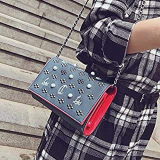 Fashion Single-Shoulder Bags Fashion PU Leather Chain-Strap Single Shoulder Bag Ladies Handbag Messenger Bag (Black) (Color : Blue)
