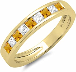 Dazzlingrock Collection 10K Gold Princess Cut Citrine & White Diamond Ladies Anniversary Wedding Band Stackable Ring