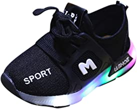 Fashion Toddler Baby Girls Boys Led Light Luminous Shoes Soft Sole Sport Sneaker Shoes Walking Shoes (Age:18-24month, Black)