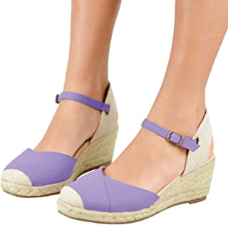 c577601918e3 Womens Espadrille Platform Wedge Sandals Strappy Criss Cross Closed Toe Mid  Heel Sandals
