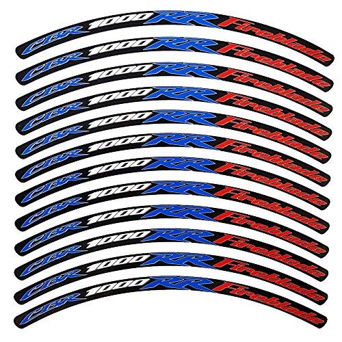 ! -12 Pegatinas Adhesivas Reflectantes para Llantas de Moto, Estilo 1, Diseño de «CBR 1000RR FIREBLADE» Color Rojo, Blanco y Azul en Fondo Negro