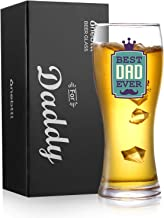 Onebttl Beer Glass for Dad, Dad Gifts for Christmas/Birthday from Daughter/Son, 15oz Pint glass/Beer mug to BEST DAD EVER-Blue (Gift Card included)