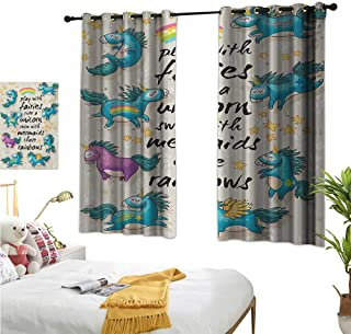 """RuppertTextile Customized Curtains Mythical Unicorns with Stars and Rainbow Legendary Creature Kids Theme Print 55"""" Wx45 L, Home Garden Bedroom Outdoor Indoor Wall Decorations"""