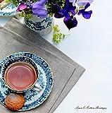 Linen & Cotton 4 x Luxus Stoffservietten Anabella, 100% Leinen – 47cm x 47cm (Natur/Grau/Beige), Ideal für Hochzeit Gastronomie Hotel Restaurant Café Küche Catering Vereinsfeier Geburtstagsfeier - 4