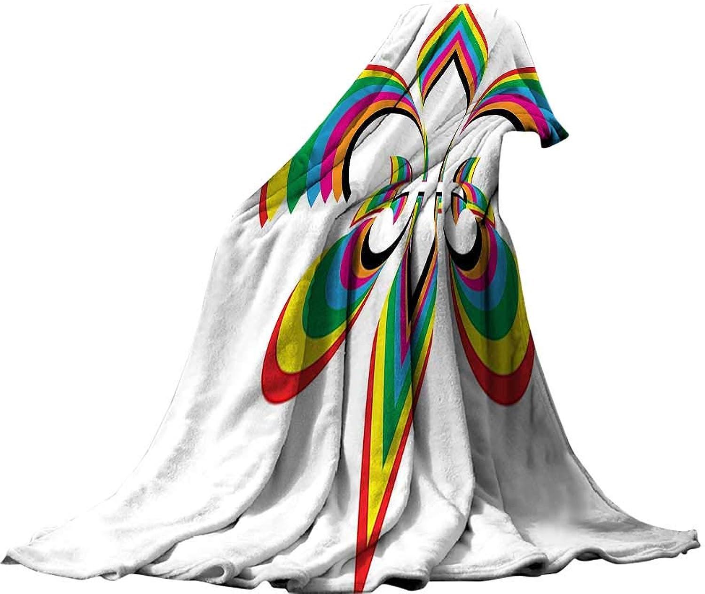 QINYAN-Home Warm Microfiber All Season Blanket (60 x36  Lightweight Blanket Extra Big Fleur De Lis Decor an Illustration with Fleur De Lis in colorful Rainbow color Cheering Retro Art.