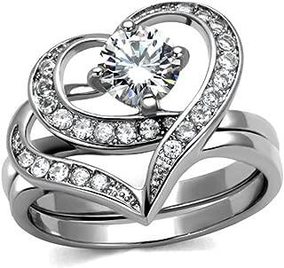 Women's 1.2 Ct Round Cut Cz 2 Piece Heart Shape Stainless Steel Wedding Ring Set