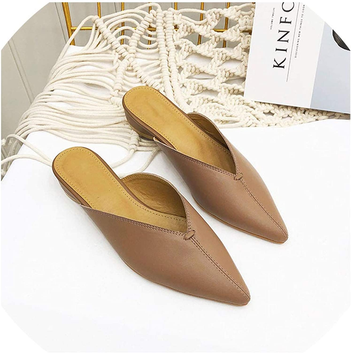Woman Low Heels Mules Slippers Pointed Toe Slides Slip on Loafers Leather