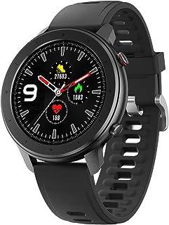 Buletooth5.0 - Reloj inteligente para teléfonos Android e iOS (resistente al agua, con monitor de actividad física con frecuencia cardíaca, presión arterial, oxígeno y SpO2, monitor de sueño, recordatorio de mensajes, para hombres y mujeres) Negro