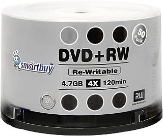 50 Pack Smartbuy Blank DVD+RW 4X 4.7GB 120Min Branded Logo Rewritable DVD Media Disc