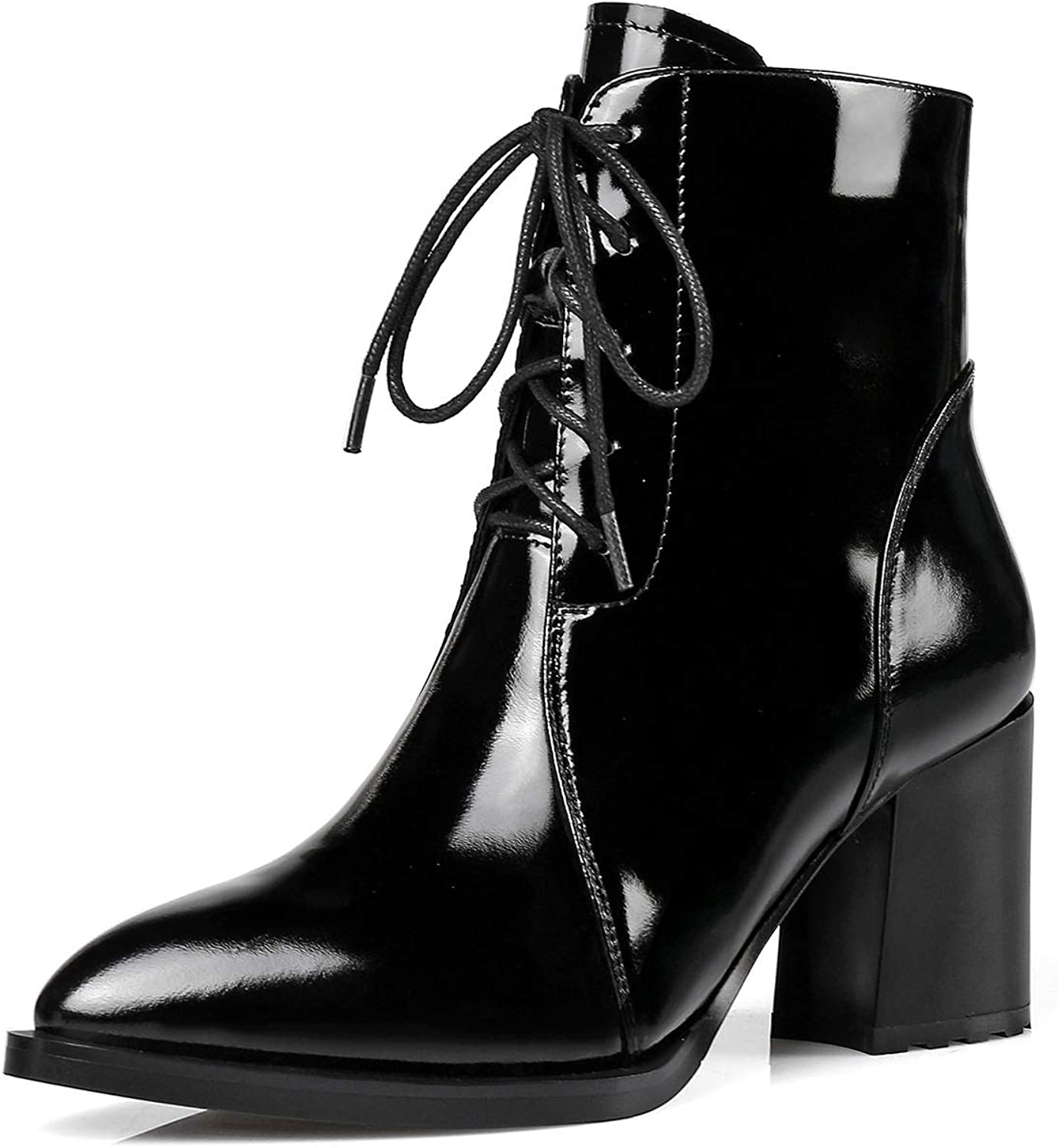 Women's Ankle Boots, Lace-up Patent Leather Ankle Boots Zipper Pointed Rough High Heels Autumn Winter Leather Boots (color   Black, Size   34)