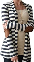 Aifer Women's Cardigans Striped Button Sweaters Elbow Patch Open Front Outwear