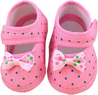 DZT1968® Baby Girl Cloth Soft Sole Round Dot Prewalker Mary Jane Shoes With Bowknot