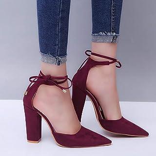 5c798667 Moda y tamaño Tacones ásperos con Correa Sandalias Zapatos. (Color : Vino  Rojo,